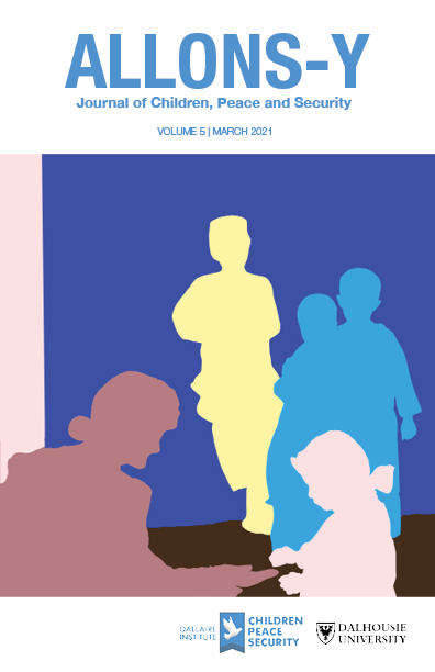 The volume cover showing pink, blue, and yellow silhouettes of children and a soldier against a blue and brown background